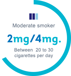 Moderate smoker, 2mg/4mg, between 20 to 30 cigarettes per day
